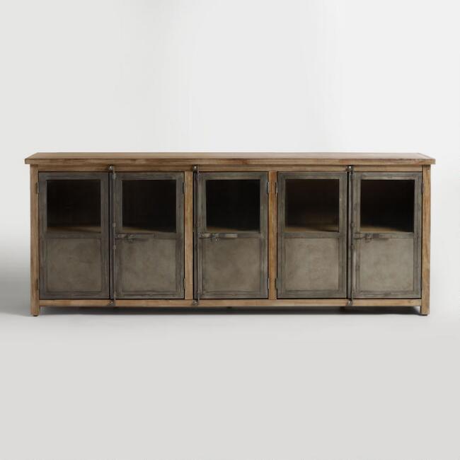 Large Wood and Metal Langley Storage Brown by