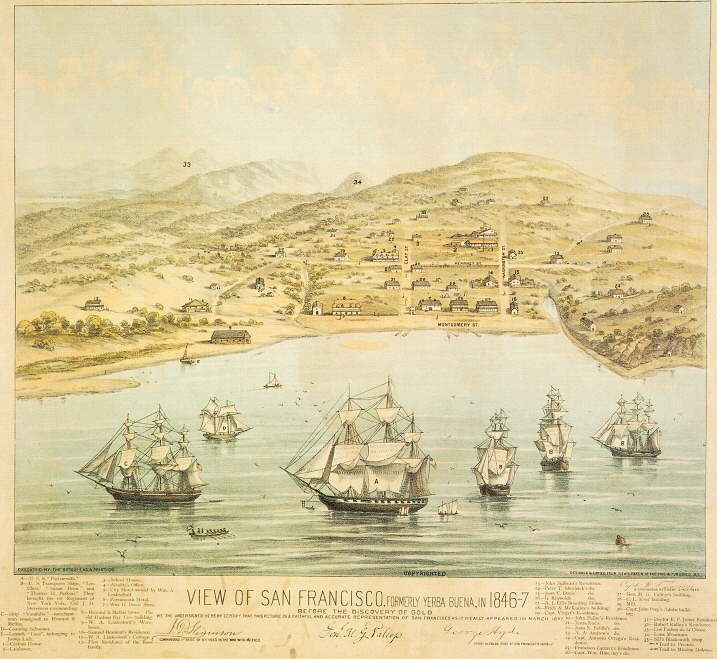 1847 – Yerba Buena, California is renamed San Francisco ... Yerva Buena California Gold Rush Map on