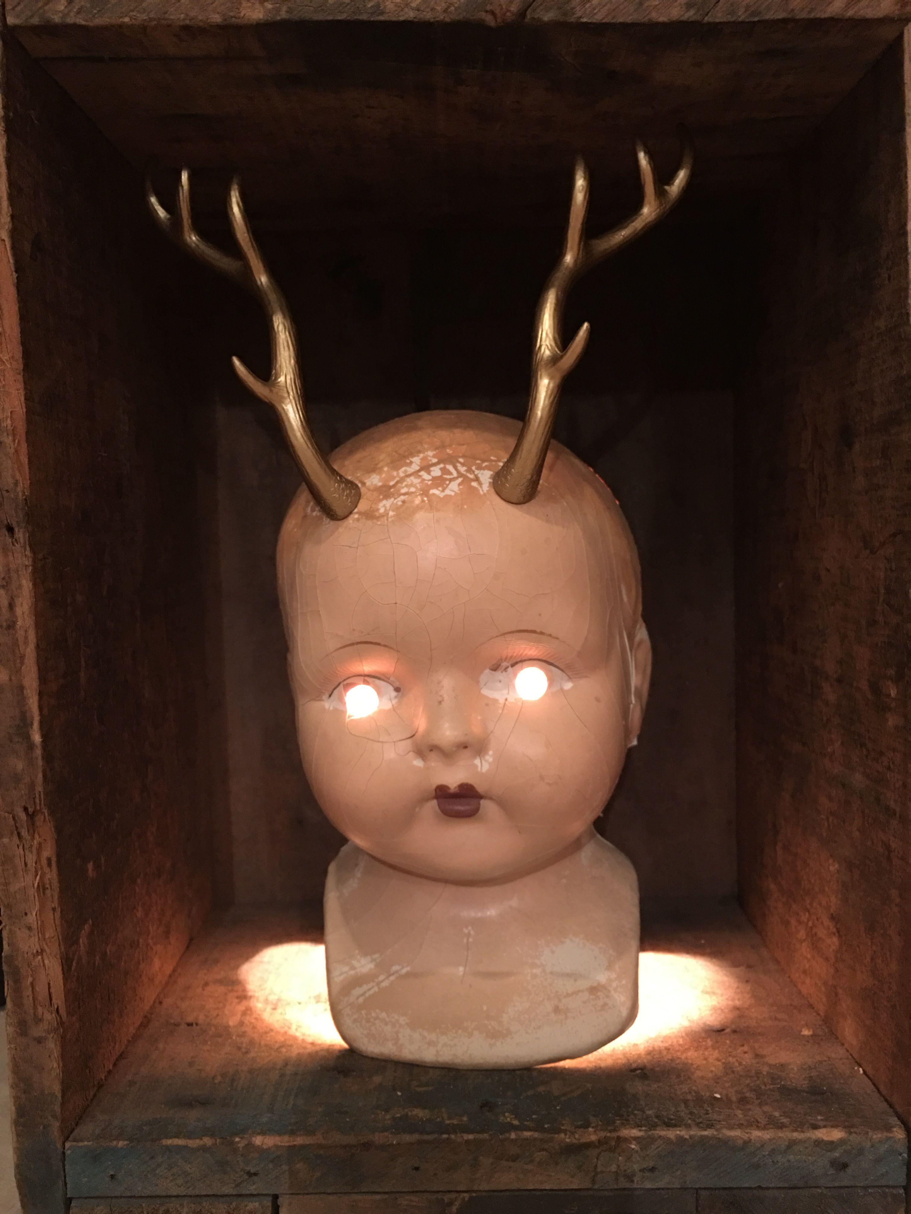 Creepy Baby Doll Head Lamp Antlers | Creepy baby dolls, Scary ...