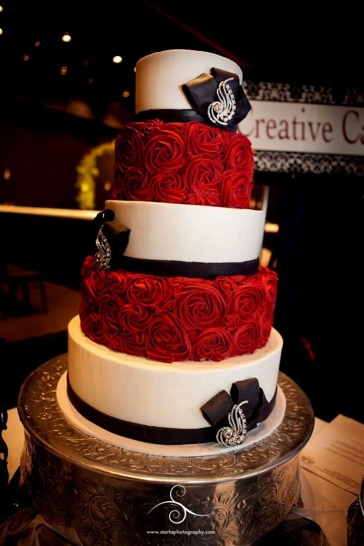 Red Black And Gold Wedding Cakes