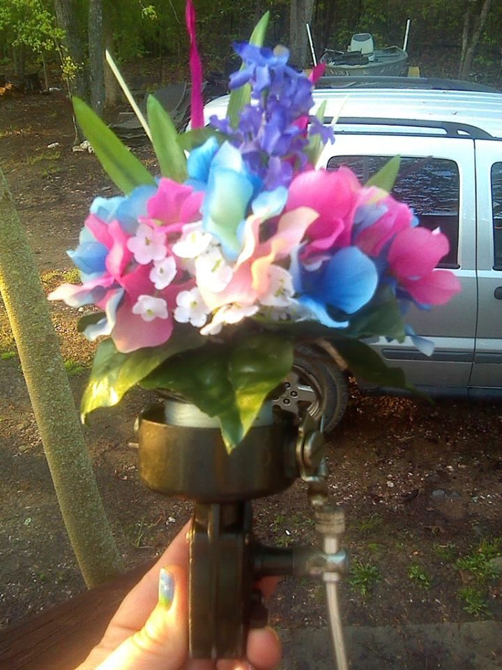 bridesmaid fishing reel bouquet