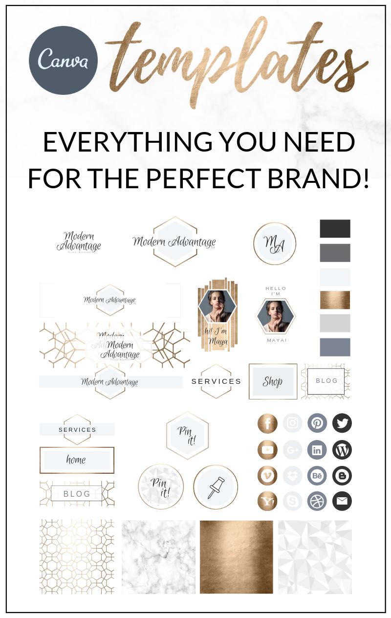 Modern Gold Website Branding Kit Canva Branding kit