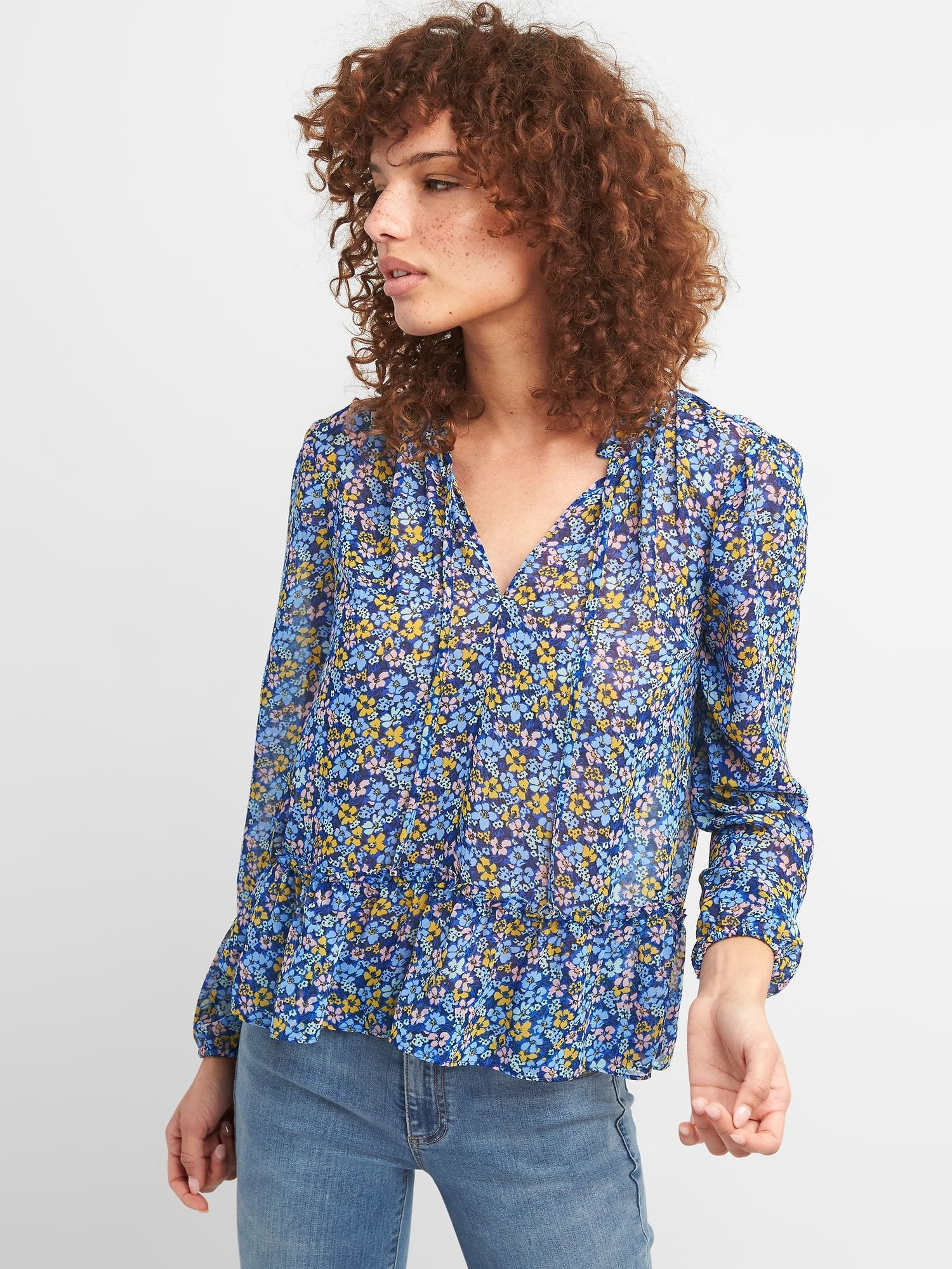 23c8d0df Ruffle Hem Floral Print Blouse | Gap | Clothing