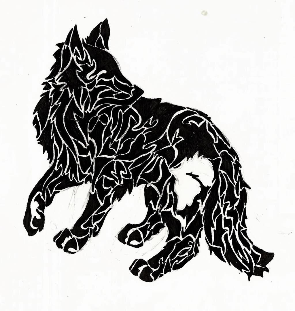 129f59ffa42c2 White Ink Wolf Tattoo Wolf Black Ink Tattoo | tats | Black ink ...