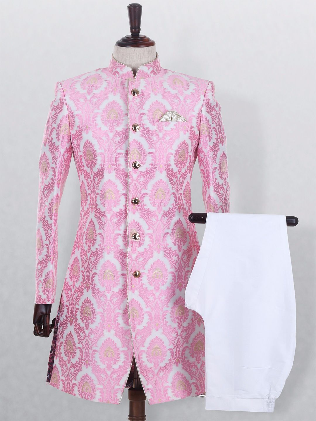 White Pink Tissue Silk Wedding Wear Mens Indo Western | Wedding ...