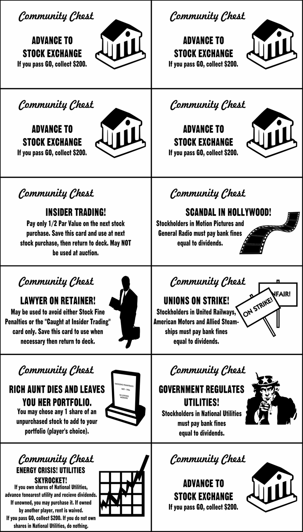 Monopoly Stock Exchange Community Chest Cards by jonizaak