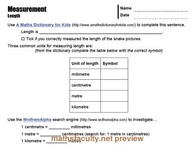 Measurement Ict Worksheets Mathsfaculty Dictionary For Kids Math Measurement Math Teacher