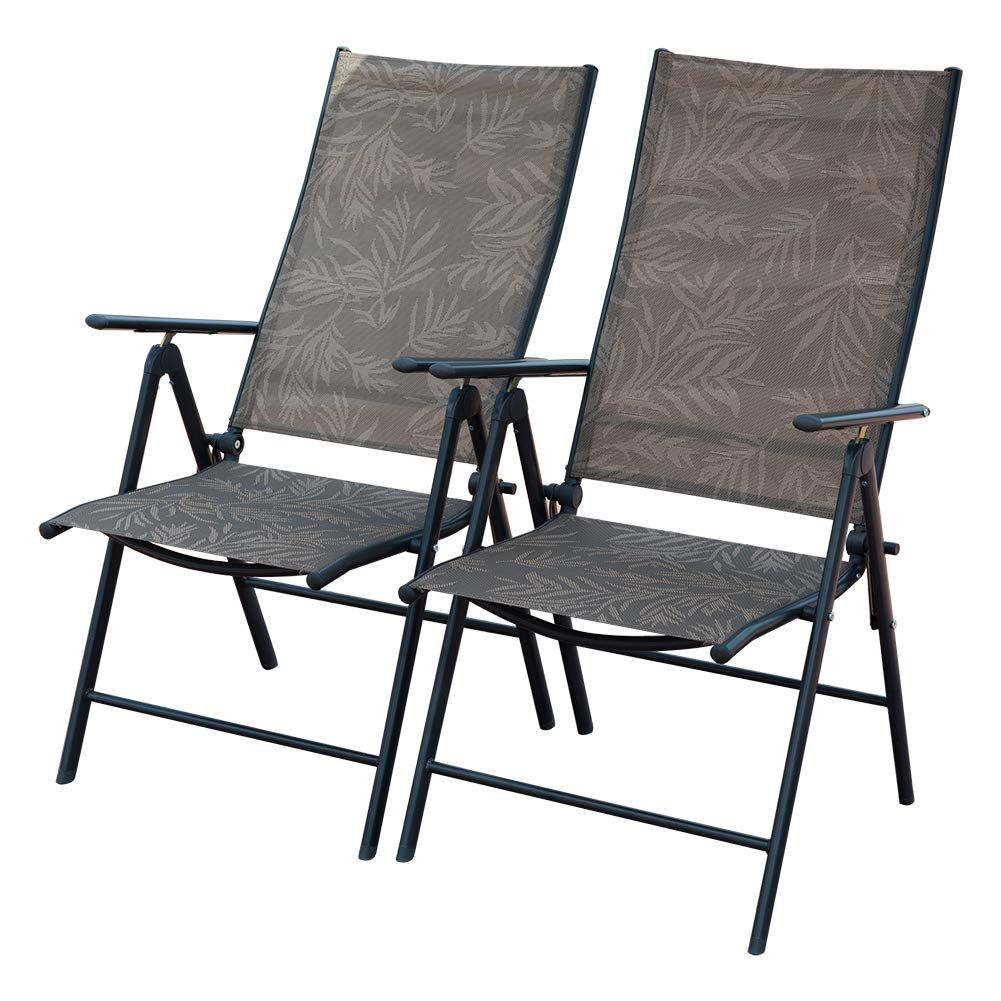 Patiopost Set Of 2 Folding Adjustable Sling Back Chairs With 7 Stalls Indoor Outdoor Reclini Folding Beach Chair Lounge Chair Outdoor Quality Outdoor Furniture
