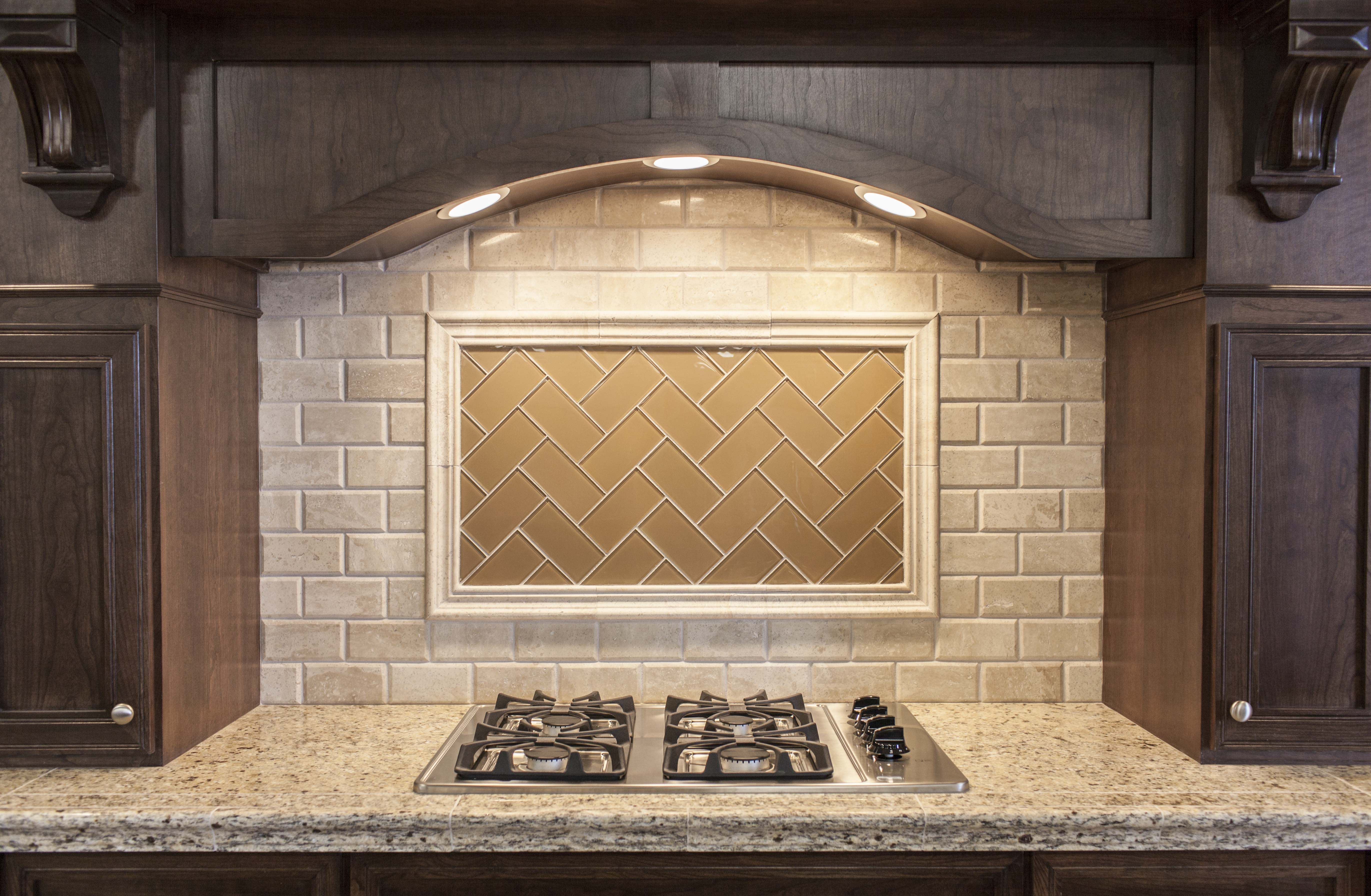 This transitional kitchen is accented with a picture frame of this transitional kitchen is accented with a picture frame of wheat colored glass in a herringbone doublecrazyfo Gallery