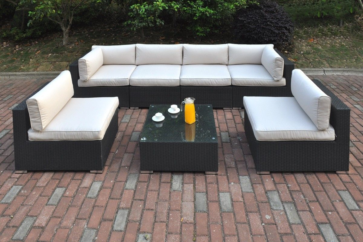 Outdoor Patio 7 Pcs Cream Sofa Set By Poundex Outdoor Settings