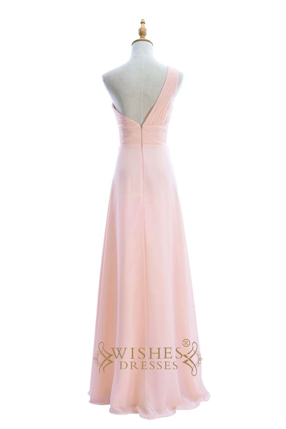 Pleated oneshoulder and waistband long bridesmaid dresses am
