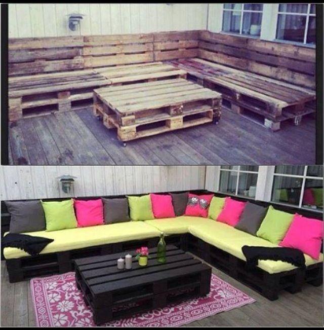 Joli canapé d\'angle en palettes | Inspiration pour balcons/ vérandas ...