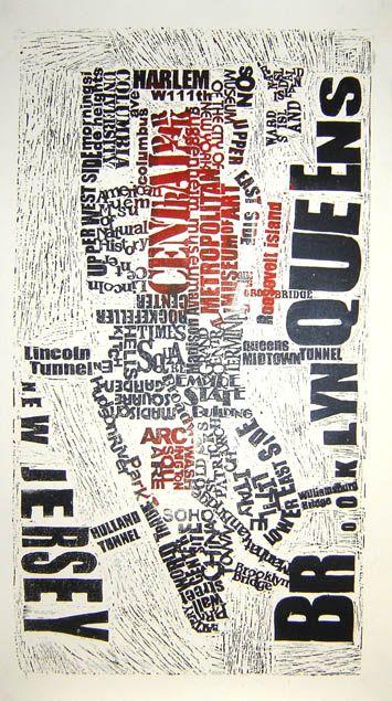 New York Linocut Print. Mark Andrew Webber.