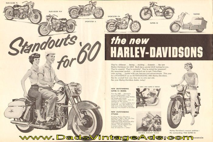 """1960 Harley-Davidson Motorcycle Magazine Advertisement – """"Standouts for '60″"""