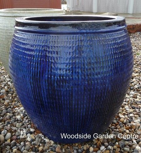 extra large blue glazed pot collar planter woodside garden centre pots to inspire blue. Black Bedroom Furniture Sets. Home Design Ideas