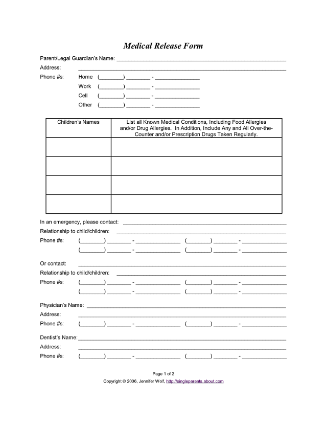Use This Medical Release Form To Protect Your Kids In An Emergency