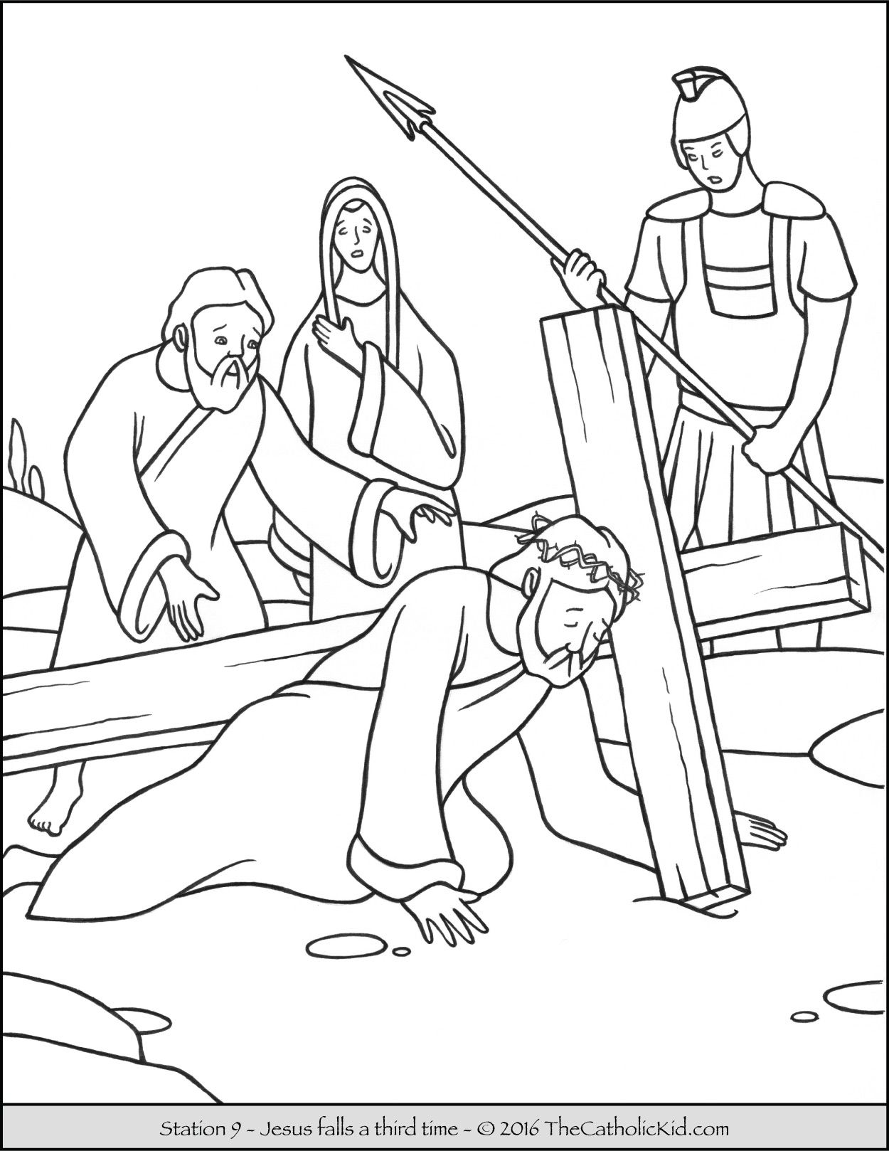 Stations of the Cross Coloring Pages 9 - Jesus falls a third time ...