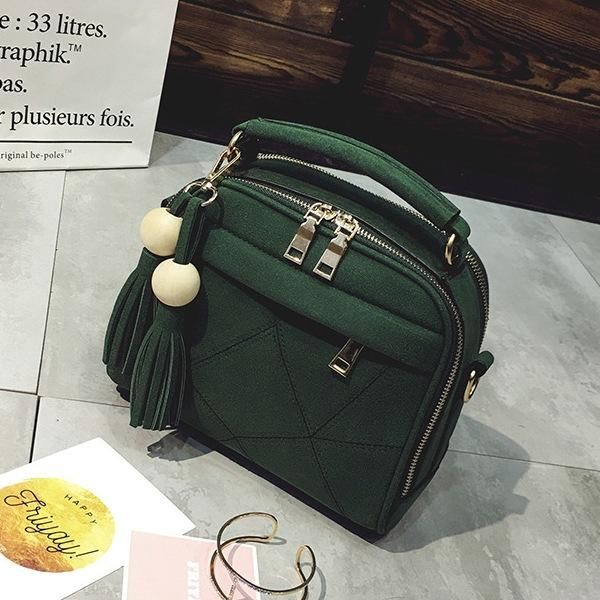 New women handbag Tassel shoulder bag women's Messenger bag casual female bag matte leather stitching tote bag