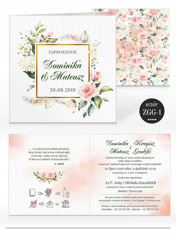 Zaproszenia ślubne Rustykalne Kwiaty Koperta W 2019 Wesele