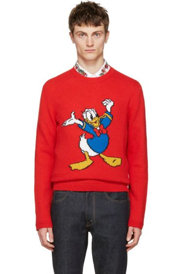 Gucci Red Donald Duck Sweater Knitwearing Gucci Mens Red