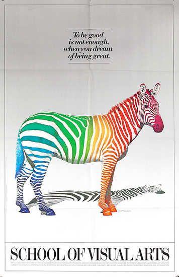 Dp Vintage Posters Sva School Of Visual Arts Original Vintage Poster Colorful Zebra Rainbow Zebra Zebra School Of Visual Arts