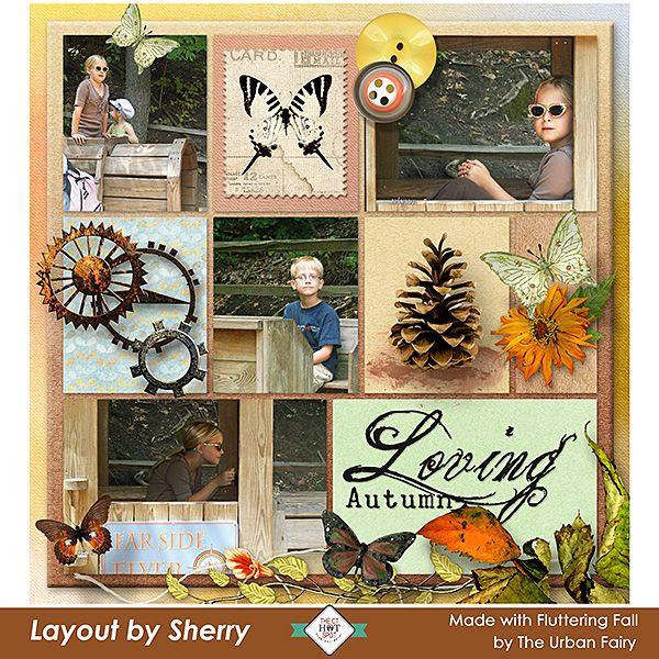 Fluttering Fall by #TheUrbanFairy is a beautiful collection of fluttering fall elements and papers  just begging to be used to scrap those memorable fall layouts! #digitalscrapbookingstudio  #CTHS #digitalscrapbooking