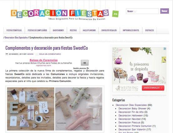 SweetCo en el blog de Decoración Fiestas