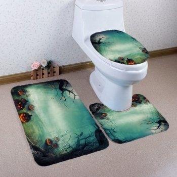 Waterproof 3D Shiny Pumpkin Print Halloween Shower Curtain - halloween bathroom sets