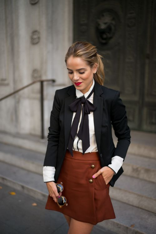 4a3ffbff77740  roressclothes closet ideas  women fashion outfit  clothing style apparel  Black Blazer and Brown Skirt