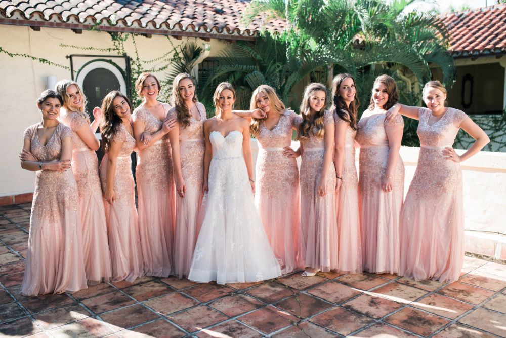 Classic And Chic Pink Wedding Sparkly Bridesmaid Dress Pastel