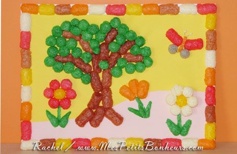 Bricolage de printemps facile pour les enfants paysage en flocons de ma s playmais id e kids Bricolage printemps objets naturels idees