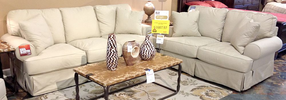 Kinning   Flax Sofa And Loveseat With The Casual Contemporary Slipcover  Look Along With The Light