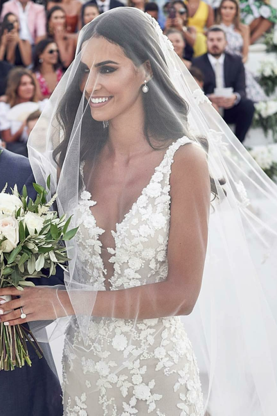 Backless Floral Lace Wedding Dresses with Mermaid Train #dreamdates