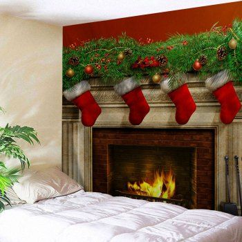 Christmas Fireplace Print Tapestry Wall Hanging Art Art for Walls
