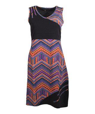 Black & Purple Geometric Sheath Dress