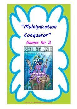 Multiplication Conqueror - Printable Multiplication game (5 gameboards) -  Instructies in het Engels maar spelborden kunnen gemakkelijk gebruikt worden.
