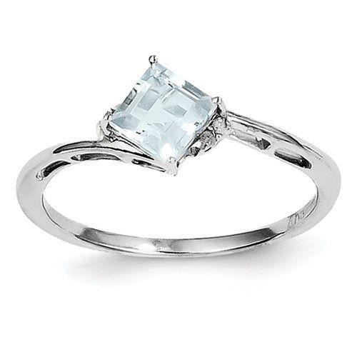 Sterling Silver Princess Square Genuine Aquamarine Diamond Ring