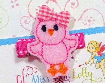 Sweet Birdie Hair Clip Embroidered Felt Bird in by MyLittlePixies