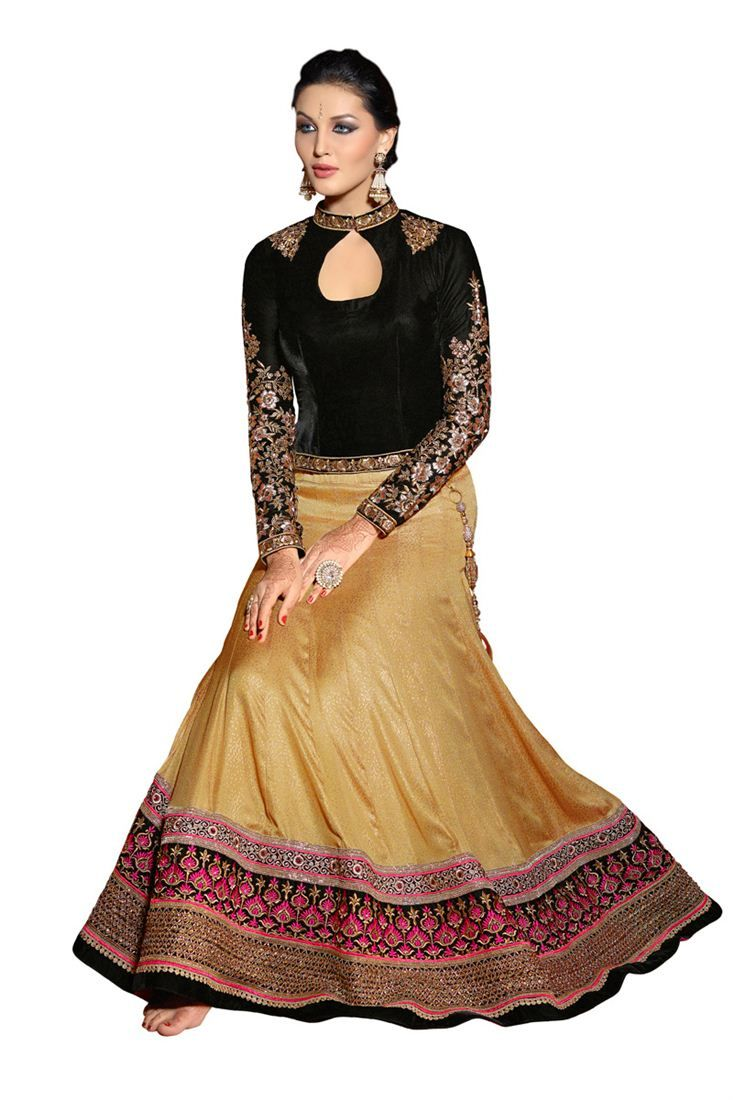 Beige embroidery satin jacquard traditional lehenga with blouse