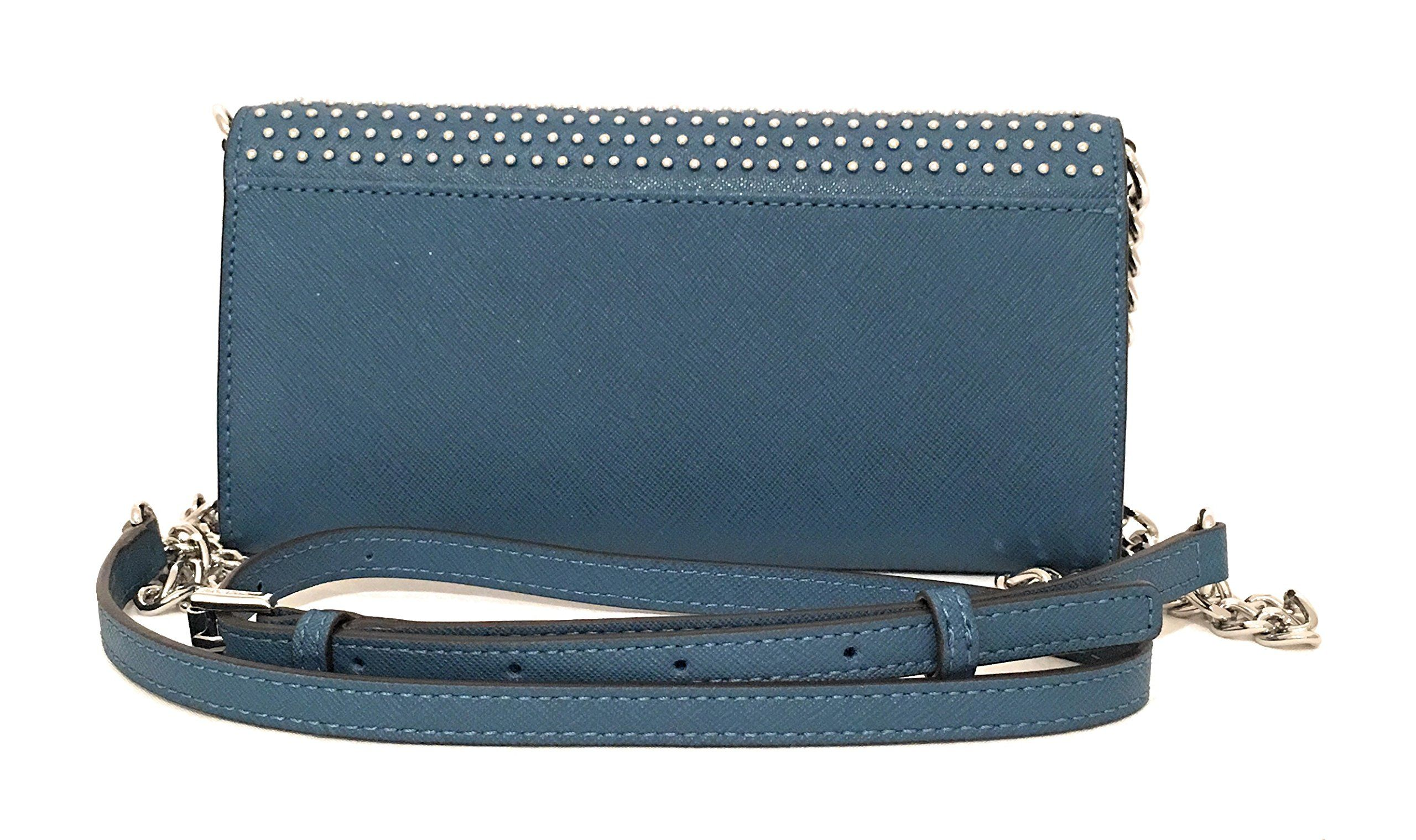 abce18da0884 Michael Kors Jet Set MIcro Stud Saffiano Leather Convertible Chain Wallet  Steel Blue -- You can get more details by clicking on the image.