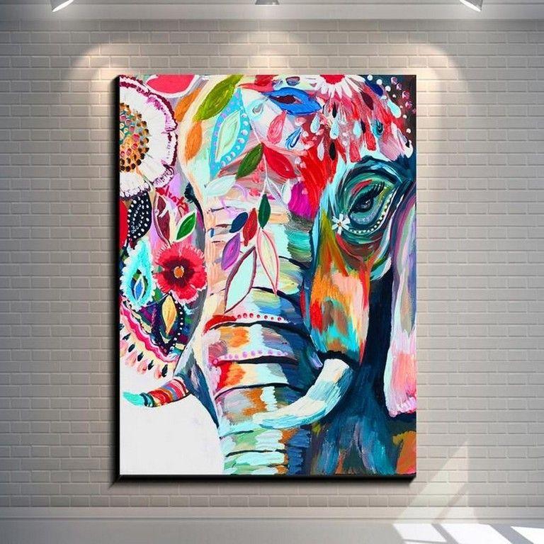 45 Cool Wall Decoration Canvas Painting Ideas With Inspirational Quotes Elefantes Pintados Cuadros De Arte Arte De Elefante