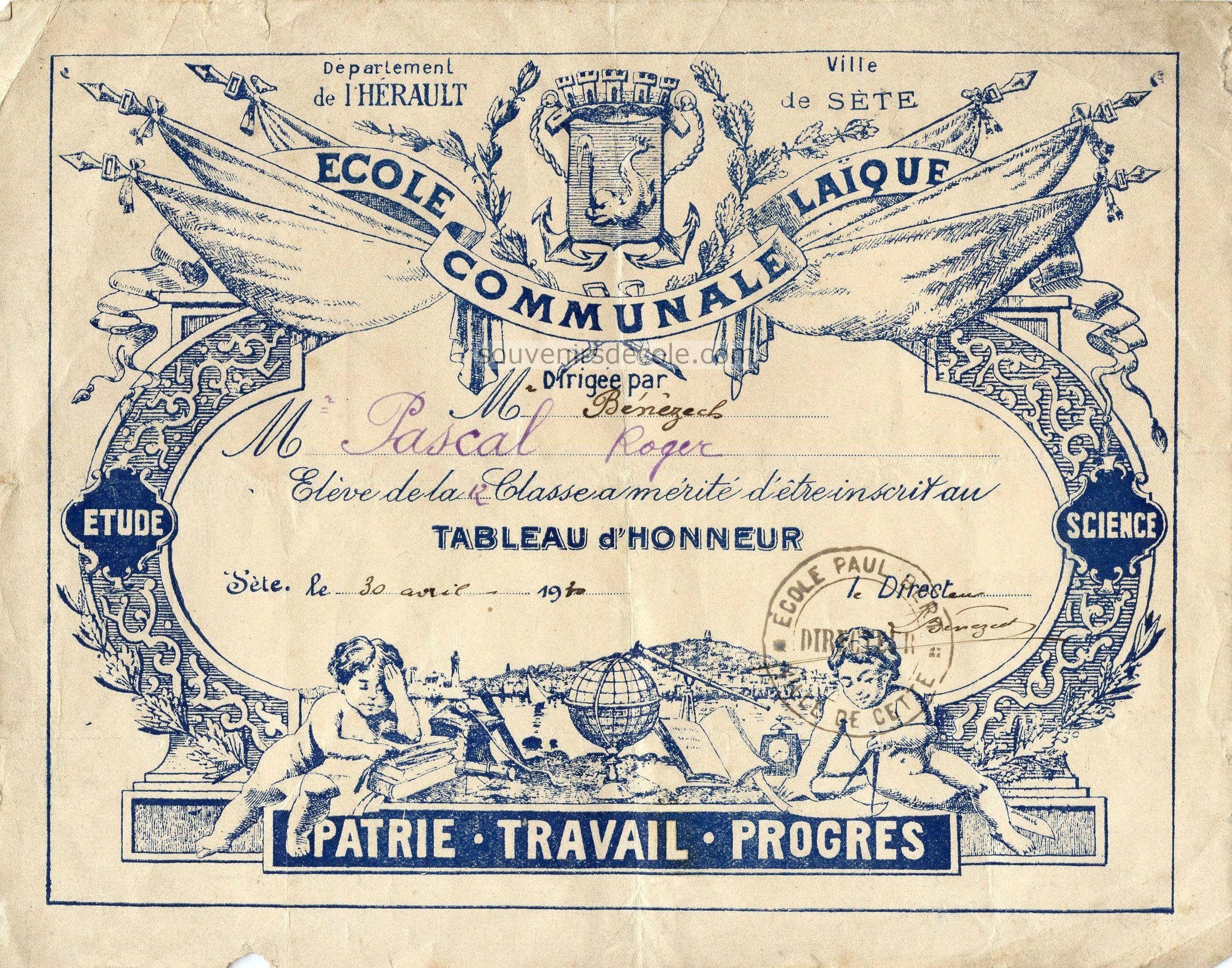 Tableau d'honneur - École Communale Laïque Paul Bert, Sète - 1930 (from http://souvenirsdecole.com/picture?/5)