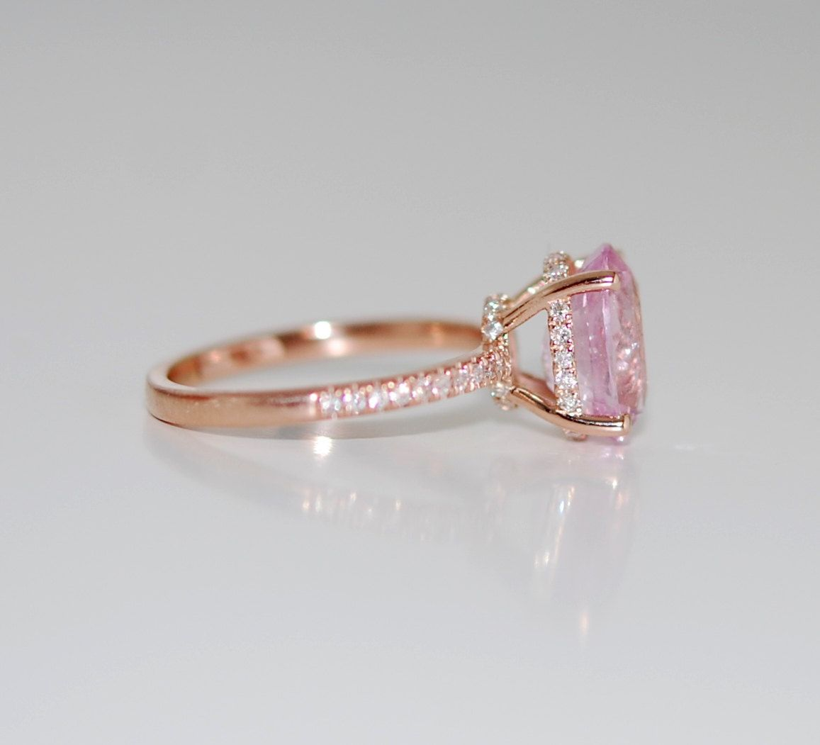 Pink Diamond Rose Gold Engagement Rings
