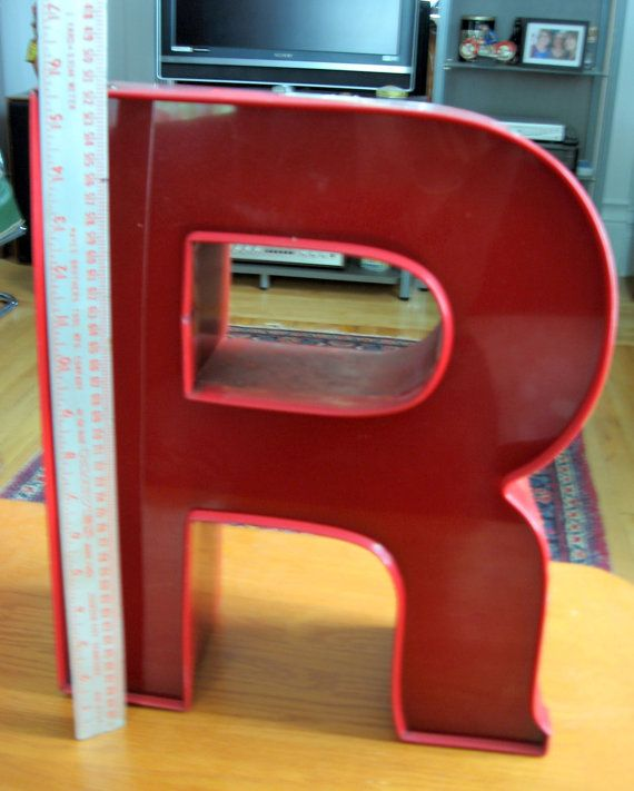 Vintage RED Neon Plexi Glass and Metal Capital R by ToysnSuch