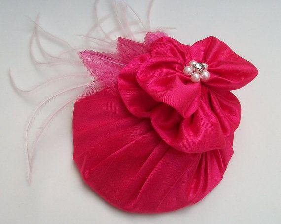 Cerise Pink Tail Hat Wedding Fascinator By Hettiejane