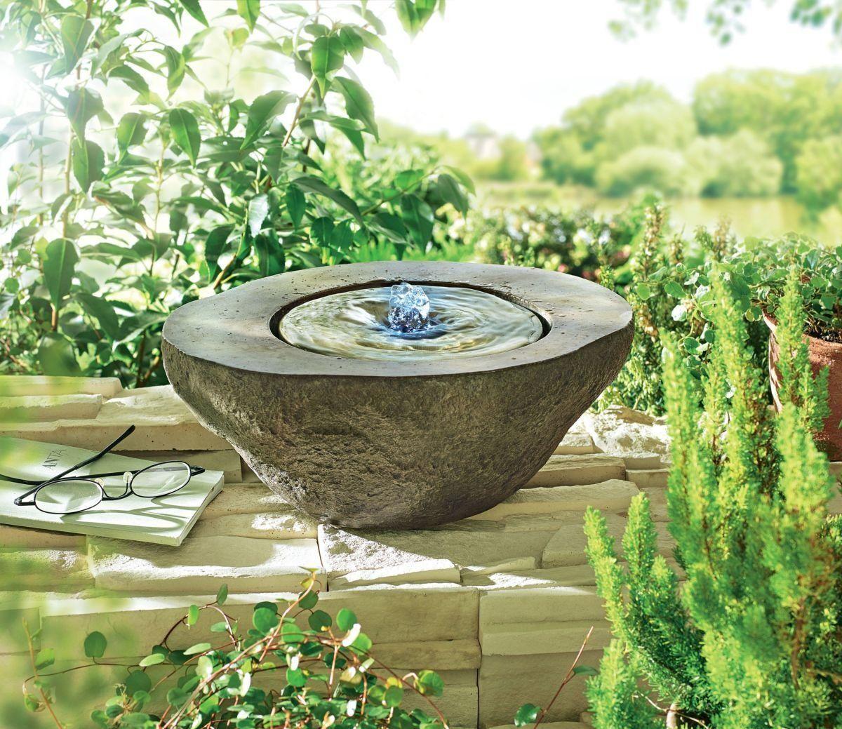 Gartenbrunnen Nero Quellstein Brunnen Beleuchtet Polyresin