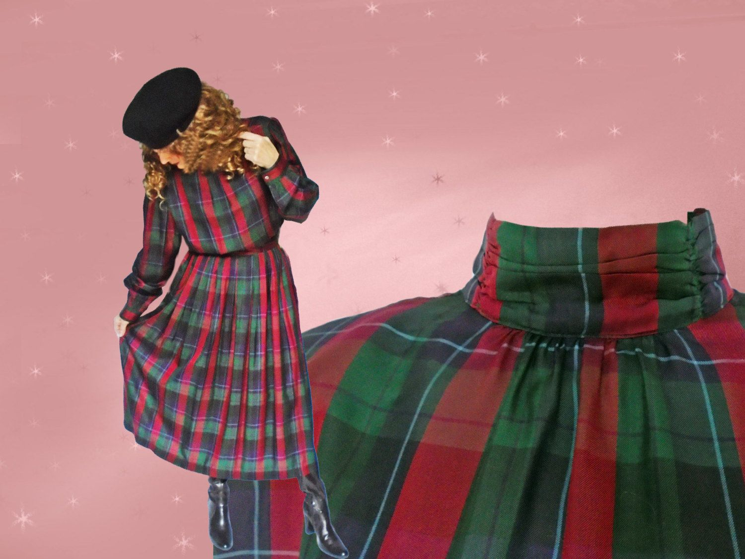 Plus Size Vintage Midi Skirt Outfit - 80s Silk Dress - Tartan Plaid ...