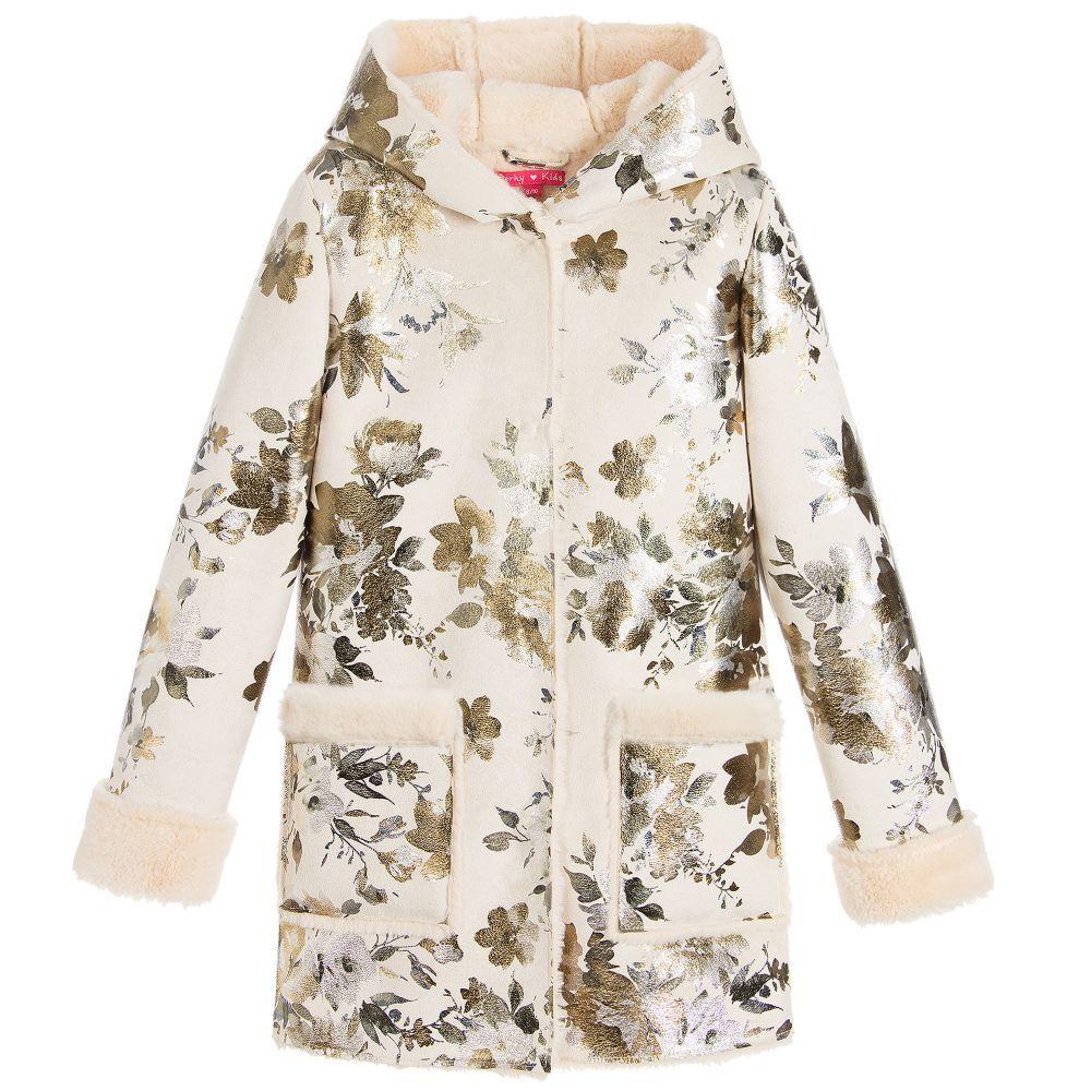 134b4d122 Derhy Kids - Girls Ivory Flower Suede Coat
