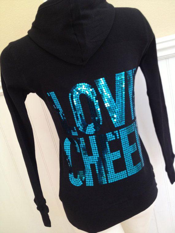 Love Cheer Aqua Blue Sequin Hoodie Jacket by Bowfriendz on Etsy