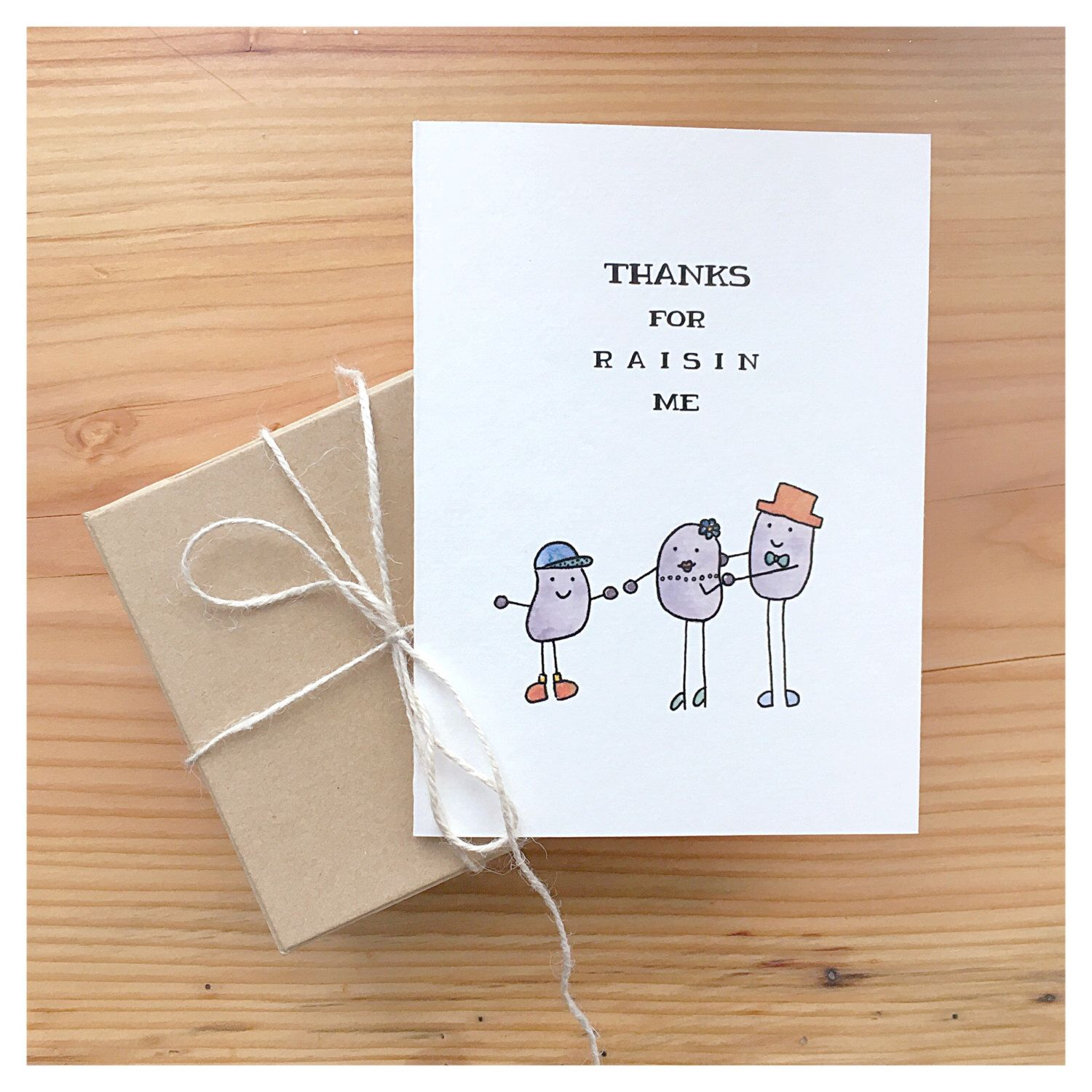 Thanks for Raisin Me - Handmade Watercolour Greeting Card, parent card, funny card for mom, funny card for father, funny greeting card, fun by kenziecardco on Etsy https://www.etsy.com/ca/listing/244990545/thanks-for-raisin-me-handmade